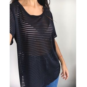 Vince Camuto sheer striped blouse L